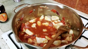 Strictly Suppers 2015 #8 – Tango Chicken and Homemade Chips, add the Passata and chicken stock and stir