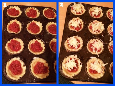 Mini Portable Pizza Pies - Filling the pastry cases and topping with cheese for the Chorizo Pies
