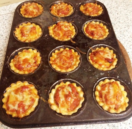 Mini Portable Pizza Pies - The Vegetarian Pie ready to be eaten