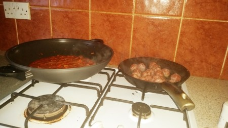 Time-Saving Tuesday – Asda Meatballs and Quick and Easy Tomato Sauce - the sauce simmering and the meatballs frying