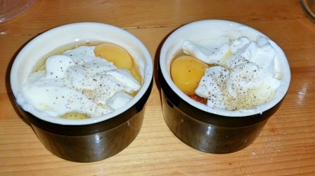 6 Nations of Food – Eggs in pots (oeufs en cocotte) - Adding another table spoon of Crème Fraîche and seasoning