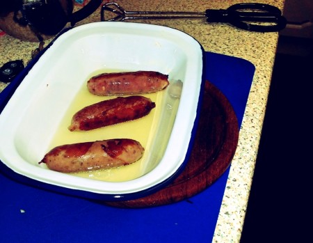 6 Nations of Food – Toad In The Hole, Champ and Onion Gravy - The sausages in the tin ready for the batter