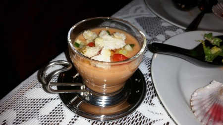 Mother's Day Gazpacho - Served in an espresso glass for effect