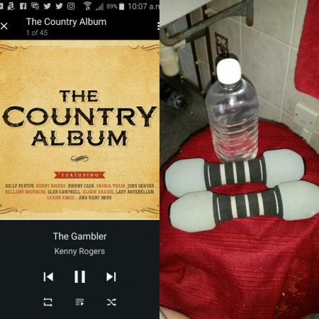 My daily regime of weights backed with a bit of Johnny Cash