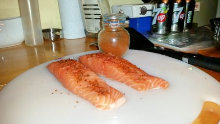 Cajun Salmon on a Mediterranean Sauce - Sprinkle the Cajun Powder over the salmon