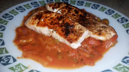 Cajun Salmon on a Mediterranean Sauce - The Salmon works lovely with the sauce