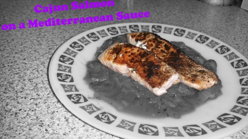 Cajun Salmon on a Mediterranean Sauce
