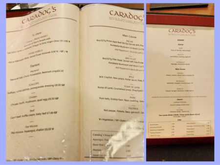 Caradog's at the Ty Newydd - The Menus