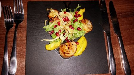Caradog's at the Ty Newydd - My mother and Greg's started of Scallops, curried parsnip, pomegranate dressing
