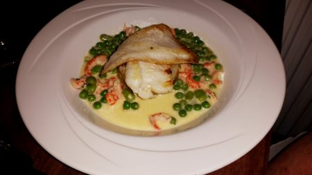 Caradog's at the Ty Newydd - Mine and my mother's main of Brill, Crayfish, New potato, Butter sauce, Peas, Broad beans