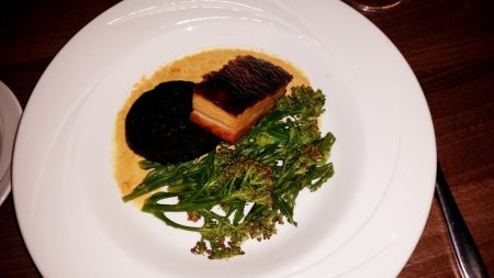 Caradog's at the Ty Newydd - Greg's main course of Pork belly, Scallop foam, Black pudding, Sprouting broccoli