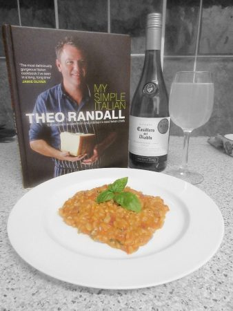 "Theo Randall's Tomato Risotto with Theo's recipe book ""My Simple Italian"""