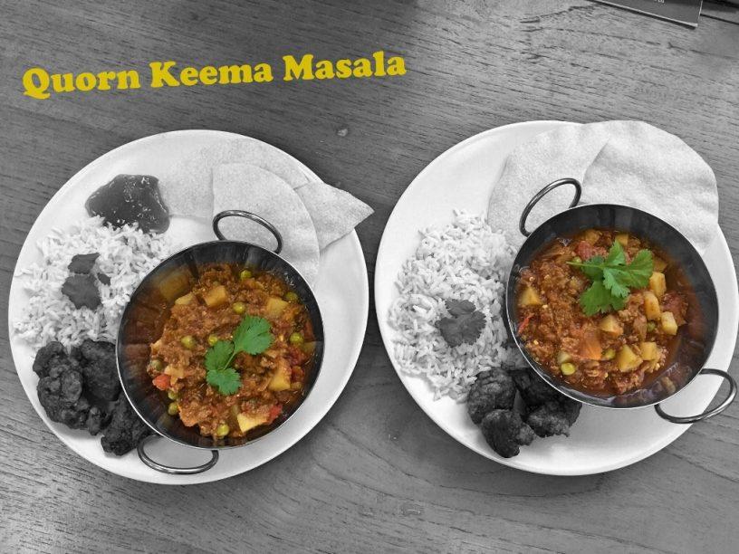 Quorn Keema Masala, boiled rice, poppadoms, pakoras and mango chutney