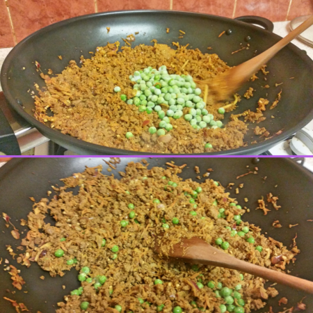 Adding the peas to the Quorn Keema Masala