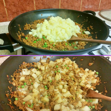 Adding the potatoes to the Quorn Keema Masala