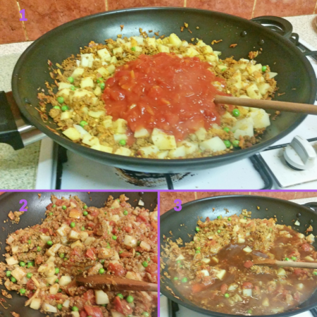 Adding the tomatoes and stock to the Quorn Keema Masala
