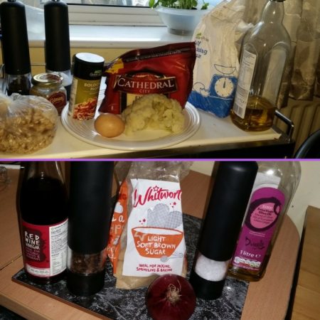 Ingredients for my Waste Not Want Not Wednesdays - Cauliflower Cheese Burger and Sticky Red Onion Chutney