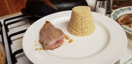 The pheasant breast and couscous