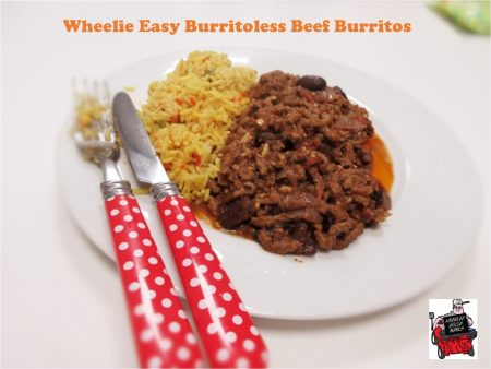 Header for my Wheelie Easy Burritoless Beef Burritos Recipe (image shows the meal plated up with rice and cutlery)