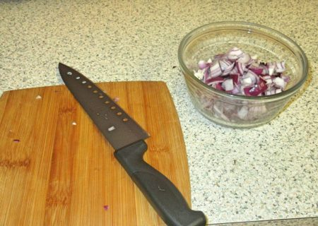 Finely chopped onions for my Wheelie Easy Burritoless Beef Burritos